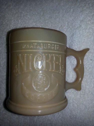 Whataburger Vintage Coffee Mug Caramel Slag Glass Buffalo nickel 1980s