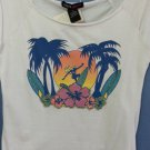Metro Girl Sport White Summer Tank Top Blouse Shirt Surfer 100%Cotton Size-S NWT