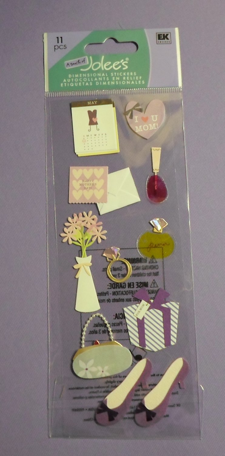 A Touch of Jolee's EK Success MOTHER'S DAY Dimensional Stickers Scrapbook Card Embellishment NIP