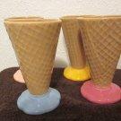 Ceramic Ice Cream Cone dessert cups set of 4