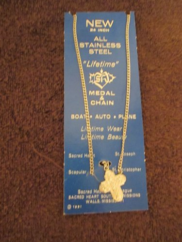 """Vintage Sacred Heart stainless steel medal and chain 24"""""""