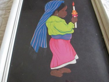 Mexican Girl Holding Candle framed art signed