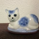 Blue and White Porcelain cat figurine