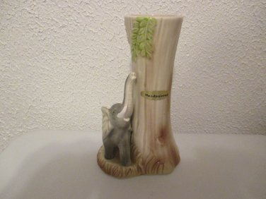 Vintage Porcelain Elephant and tree trunk bud vase