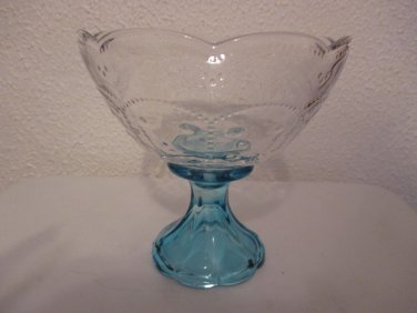 Clear glass with turquoise pedestal candy dish