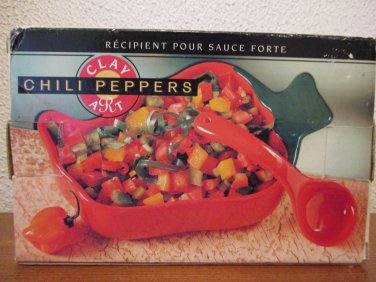 Clay Art Chili Peppers salsa dish with spoon