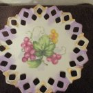 Lefton China Hand painted Pedestal Dish Lattice grapes and leaves
