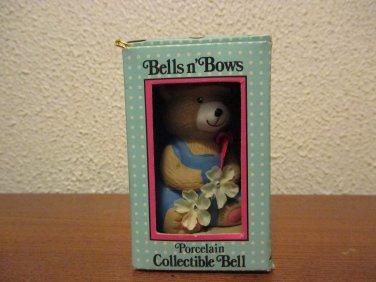 Vintage Bells n Bows Porcelain Collectible Bell  Bear Ornament