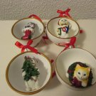 Christmas Cats in a Teacup ornaments set of 4