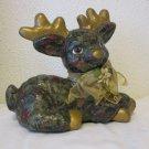 Vintage handmade Ceramic Reindeer Figurine Green and gold