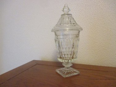 Vintage Mt Vernon Clear Candy box with cover Indiana Glass