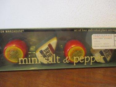 Boston Warehouse Gourmet Cheese Mini Salt and Pepper set of 4