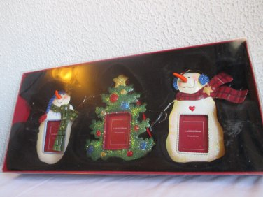 Set of 3 St Nicholas Square Ornament frames 2 snowmen and a tree