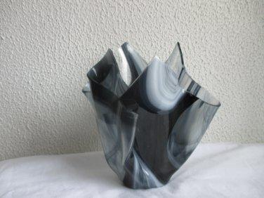 Black Gray Swirl Handkerchief Art Glass Vase