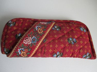 Vera Bradley double eyeglass case retired Provincial Red