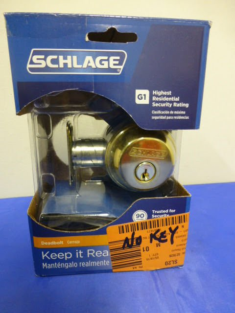 SCHLAGE LOCK CO B60NV505 Single Cylinder Deadbolt, Brass