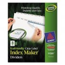 Avery 11581 Print & Apply Clear Label Dividers w/White Tabs 8-Tab Letter 5