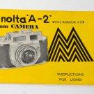 Minolta A-2 camera instruction manual with Rokkor f/2.8