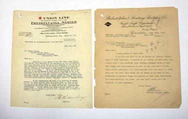 1913 Documents Union Line & Reading PENNSYLVANIA RAILROAD letters Auditor R/R