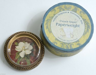 Linda Grayson round French Glass paperweight with Flower design in box
