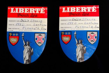 """Dollie Strang Used vintage """"Liberte"""" French Line Plymouth UK Luggage Labels - 2"""