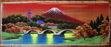 JAPANESE WATERCOLOR Original PAINTING ON SILK w/ FUJI MOUNTAIN Rare vintage
