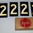 #2 No. 2 (6) Six Number 2's Vintage Hy-ko Sign Letter Aluminum Metal NOS unused