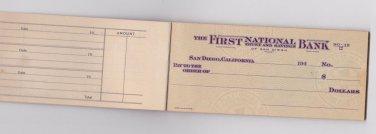 1940's San Diego California Unused Blank Vintage Check Book Checks