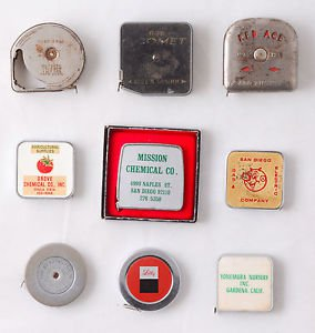 Red Ace Roe Comet Lot of 10 Vintage Tape Measure San Diego Advertising Pocket