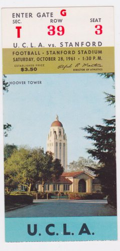 1961 UCLA vs Stanford, College Football Ticket Stub October 28