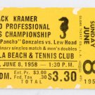 Pancho Gonzales Vs. Lew Hoad 1958 TENNIS Professional Championship TICKET STUB