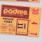1970 SAN DIEGO PADRES TICKET STUB vs. Chicago Cubs 6/11/1970 Night Game Season
