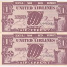 United Airlines United Air Currency Vintage Paper Lot of 2