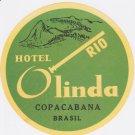 Hotel Olinda Rio Brazil Decal Vintage Copacabana Brasil Unused 1960's or earlier