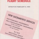 1970 PSA Pacific Southwest Airlines timetable Flight Schedule February 2/70