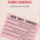1969 PSA Pacific Southwest Airlines timetable Flight Schedule July 7/25/69 New
