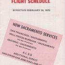 1970 PSA Pacific Southwest Airlines timetable Flight Schedule February 2/24/70