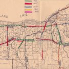 """1967 Ohio Map Department of Highway Cleveland Construction vtg 27"""" x 22"""" Freeway"""