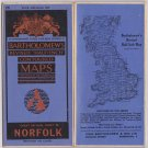 1947 Bartholomew's NORFOLK Revised Contoured Cloth Map Great Britain Sheet 26