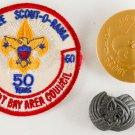 1960 Boy Scout Jubilee Scout-O-Rama Patch, Fair Neckerchief Slide Crescent Bay