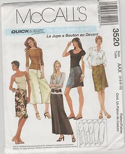 McCall's Quick n Easy 3520 Front Button Skirt 5 Lengths Size AAX 4 6 8 10