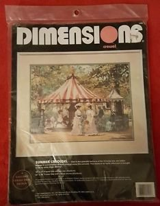 1992 Dimensions SUMMER CAROUSEL Crewel Embroidery Kit Alan Maley Victorian Lady