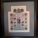 Finished Cross Stitch Sampler COUNTRY FAIR 16.5 x 18.5 Framed