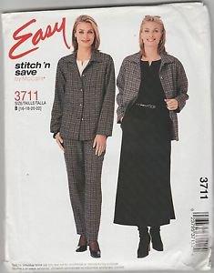 Easy Stitch n Save McCalls 3711 Shirt Top Pants Skirt Pattern Size B 16 18 20 22