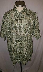 Tori Richard Green Geometric Design Cotton Lawn Camp Shirt Hawaiian Size Large