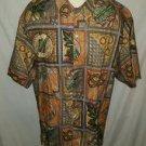 Tori Richard Floral Coconut Multi Color Cotton Lawn Camp Shirt Size Large