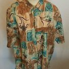 Tori Richard Tan Multi Color Floral Cotton Lawn Camp Shirt Size Large