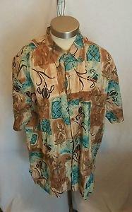 Tori Richard Tan Multi Color Floral Cotton Lawn Camp Shirt Size Large