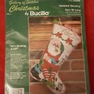 Bucilla He's Making A List Christmas Stocking Jeweled Felt Applique Kit Santa