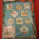 """Bucilla Whimsical Cross Stitch 3"""" Ornaments Kit Set of 9 Quilted Stamped USA"""